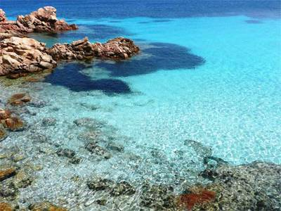 the crystal-clear water of spargi isle in the la Maddalena archipelago